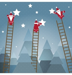 Santa hanging stars and christmas woods vector