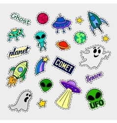 Fashion patch badges ufo set stickers pins vector
