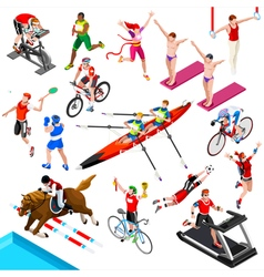 Sport isometric sportsmen game olympic set vector
