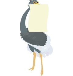 Funny ostrich holding blank sign vector