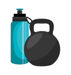 Bottle water gym with weight icon vector
