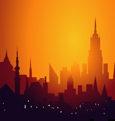 Evening city skyline - vector