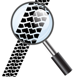 Magnifying glass icon trail tires vector