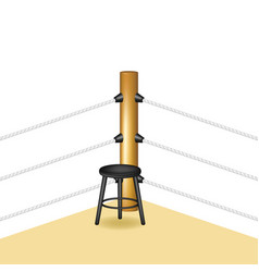 Boxing corner with wooden stool and white ropes vector