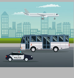 color background city landscape with bus and vector image