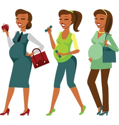 Pregnant woman lifestyle vector