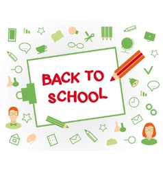 Welcome back to school Flat design objects on a vector image
