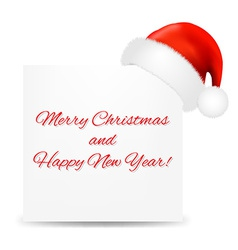 Christmas card with santa hat vector