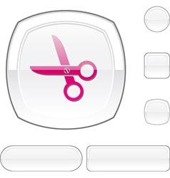 Scissors white button vector