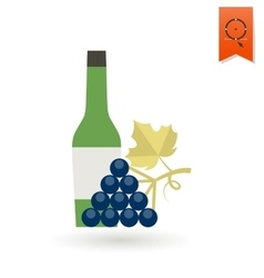 Bottle of wine and grapes vector