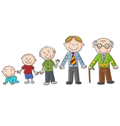 Aging people men at different ages hand drawn ca vector