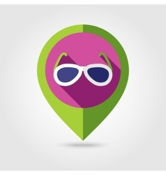 Sunglasses flat mapping pin icon with long shadow vector