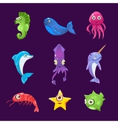 Colourful sea creatures set vector