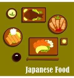 Japanese traditional seafood cuisine icons vector