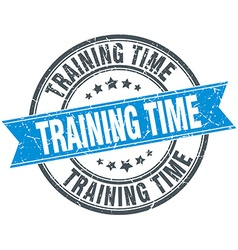 Training time blue round grunge vintage ribbon vector