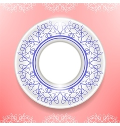 Ceramic ornamental plate isolated on pink vector
