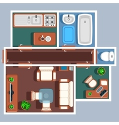 Apartment floor plan with furniture vector