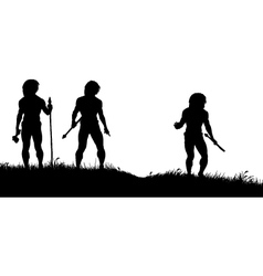Cavemen hunters vector