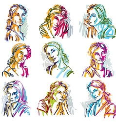 Attractive ladies portraits collection silhouettes vector image vector image