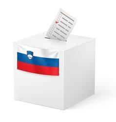 Ballot box with voting paper slovenia vector