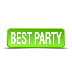 best party green 3d realistic square isolated vector image vector image