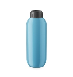 Blue glossy plastic shampoo bottle template vector