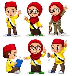 Brunei children in costumes vector image vector image