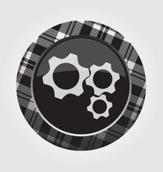 Button with white black tartan - three cogwheel vector