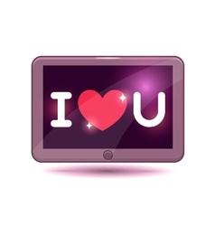 Cartoon tablet computer icon vector image