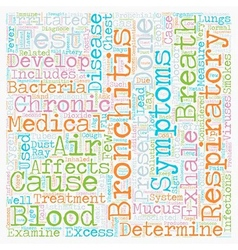 Cause of bronchitis text background wordcloud vector