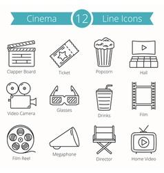 Cinema line icons vector