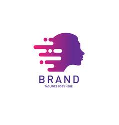 Creative woman head logo brain vector
