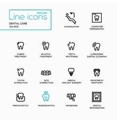 Dental Care - Single Line Pictograms Set vector image vector image
