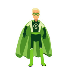 ecological superhero man in green costume eco vector image vector image