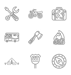 Encampment icons set outline style vector image