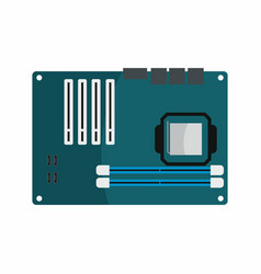 Flat hardware motherboard icon for repair service vector