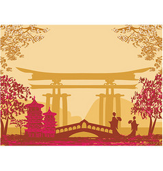Geisha silhouette at sunset vector