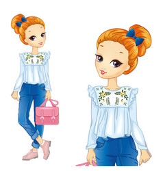 Girl in shirt with embroidery vector