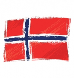 grunge Norway flag vector image