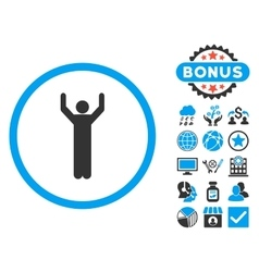 Hands Up Flat Icon with Bonus vector image