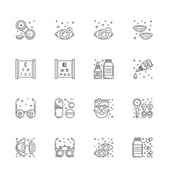 Icons outline style ophthalmology vector