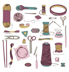 knitting and sewing accessories hand drawn vector image vector image