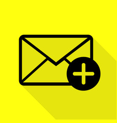 Mail sign with add mark black icon vector