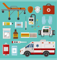 Medical icons set care ambulance emergency vector