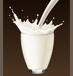 milk splash in the glass on the brown background vector image vector image