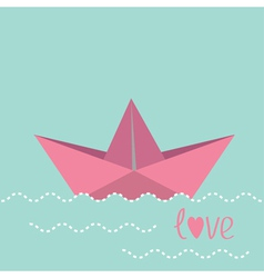 Origami paper boat and waves vector image