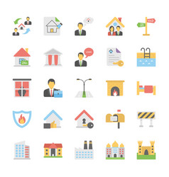 Real estate flat icons collection vector