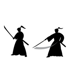 Samurai warrior in silhouette style vector