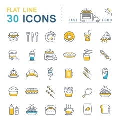 Set flat line icons fast food and junk food vector