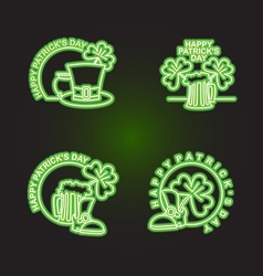 Set logo Patricks day Neon sign shines in dark vector image vector image